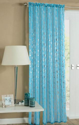 TEAL COLOUR SLOT TOP READY MADE STYLISH FLORAL DESIGN LIGHT NET VOILE PANEL